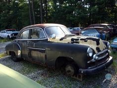 Antique Chevrolet junk yard car parts, vintage Chevy junkyard auto parts